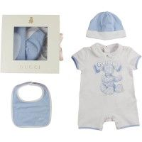 GUCCI Baby Boys Blue Teddy Romper Hat   Bib Gift Set  173a84c75d8d