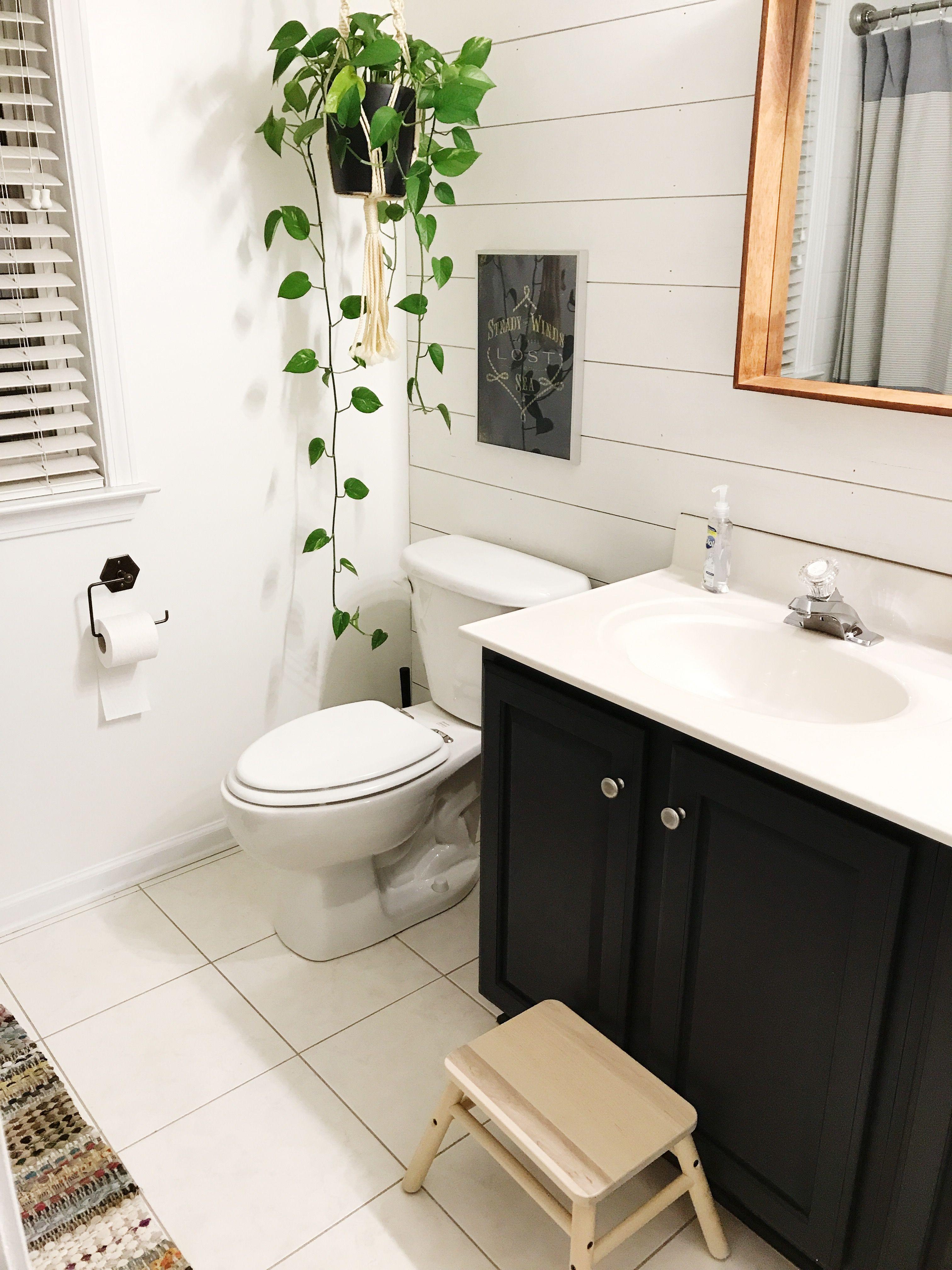 Livingoncrust Easy Bathroom Update Shiplap Wall In Bathroom