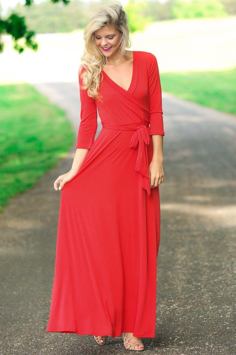 Valerie red long sleeve wrap maxi dress at reddressboutique