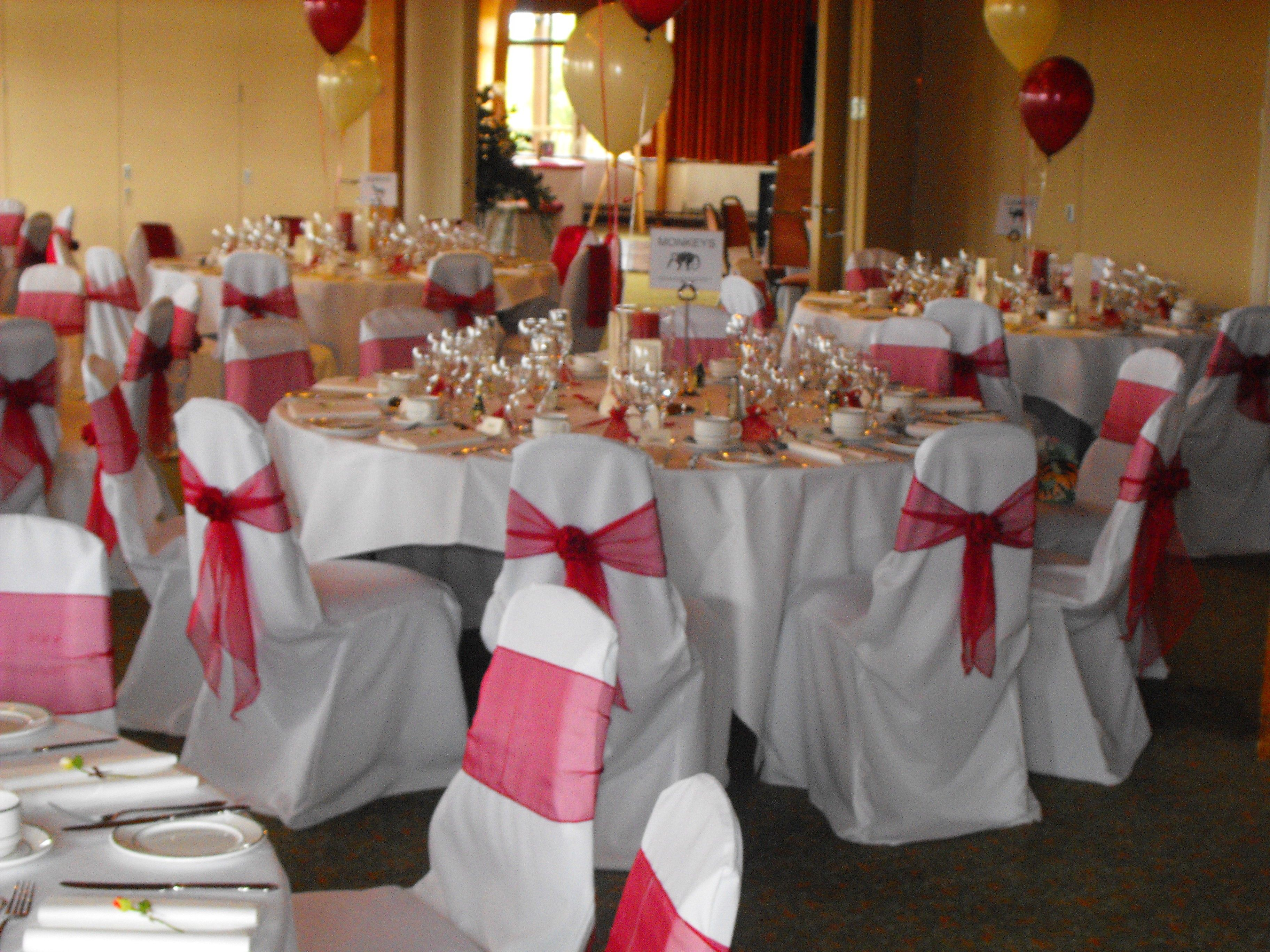 Burgundy Chair Covers Wedding Simply Elegant And Linens Organza Rose Design Sashes On White