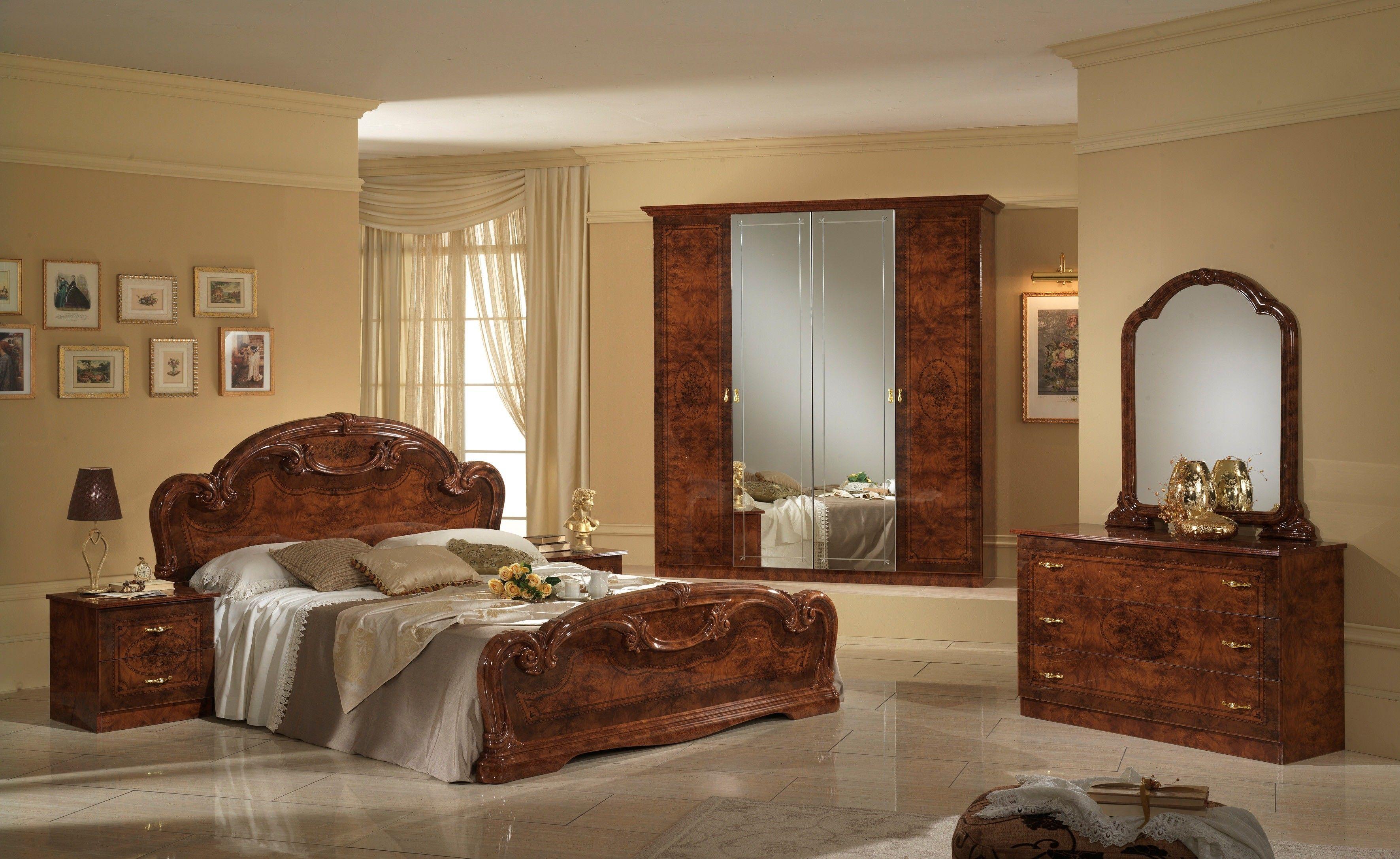 Ben Company Romina Walnut Bed Group Set with 6 Door Wardrobe ...