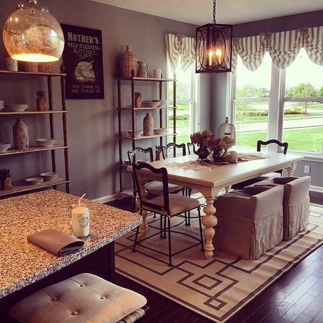 Macara Carsley Designed This Cottage Kitchen And Dining Room With A Surya Alfresco Rug In The Area