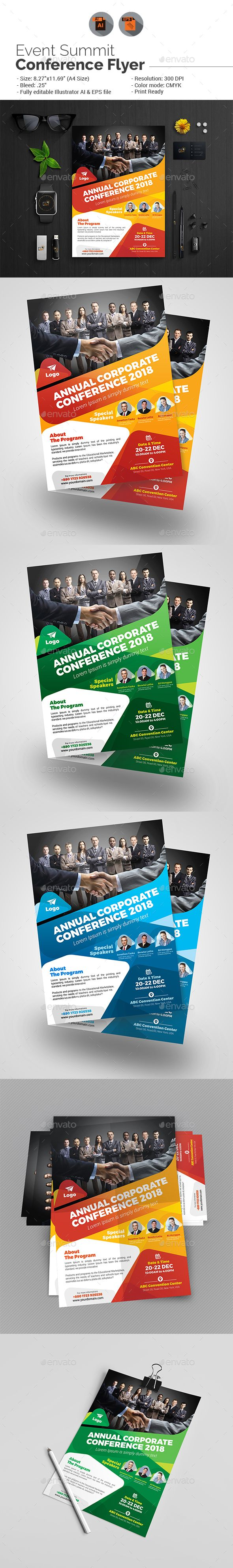 Annual Corporate Conference Flyer  Flyer Template Ai Illustrator