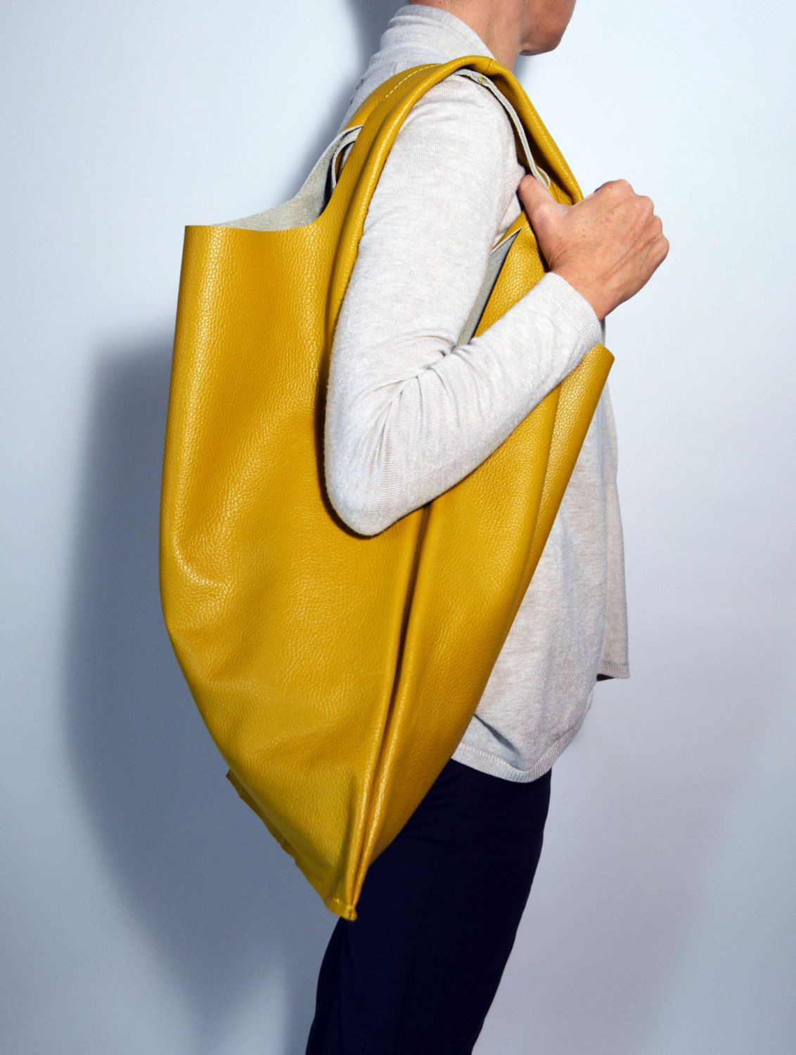 Hobo Bag Big Leather Shopper Womens Leather Shopping Bag Yellow ...