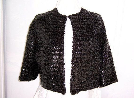 Vintage Designer  Black Sequined Bolero or by SierrasTreasure, $65.00