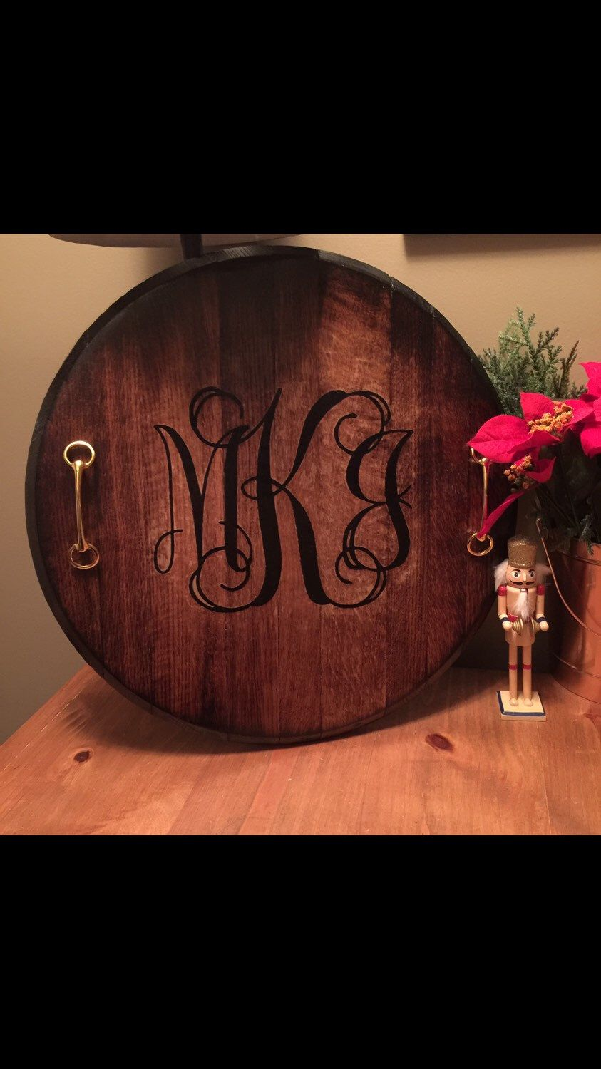 Kentucky Bourbon Barrel Serving Tray With Horse Bit Handles Barrel Decor Bourbon Barrel Decor Bourbon Barrel Furniture