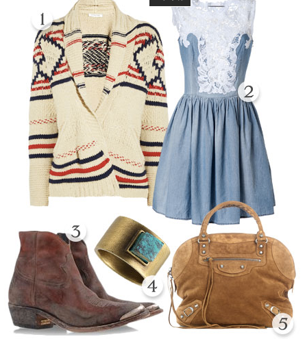 south west inspired.  Outfit idea: southwest sweater, denim dress/skirt, cowboy ankle boots.