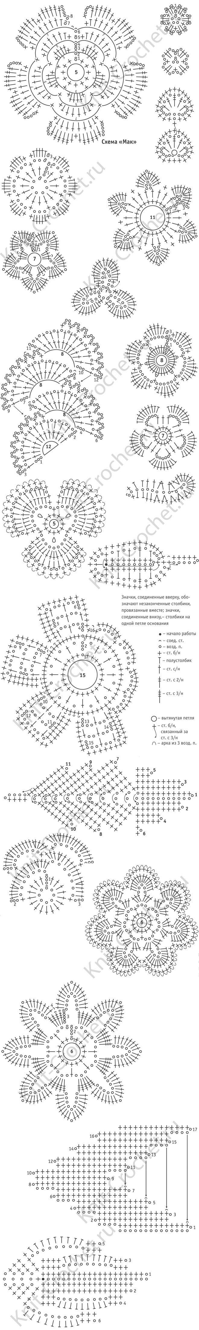 схемы узоров для вязания крючком платья для девочки с мотивом мак