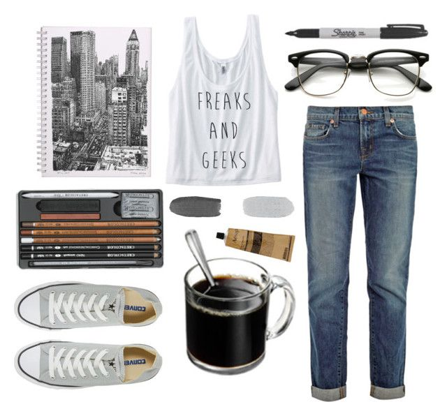 """""""Untitled #42"""" by thepheonix256 ❤ liked on Polyvore featuring J Brand, Sharpie, Savant, Converse and Aesop"""