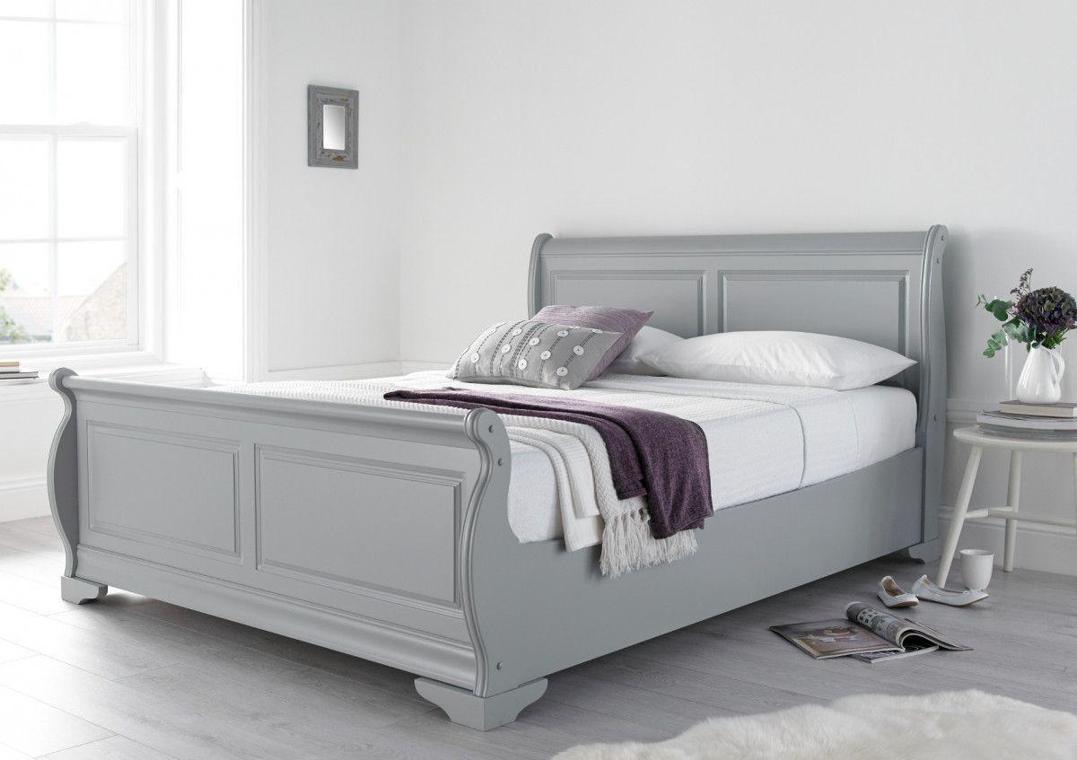 Louie Wooden Sleigh Bed - Grey, #Bed #Grey #Louie #sleigh #Wooden