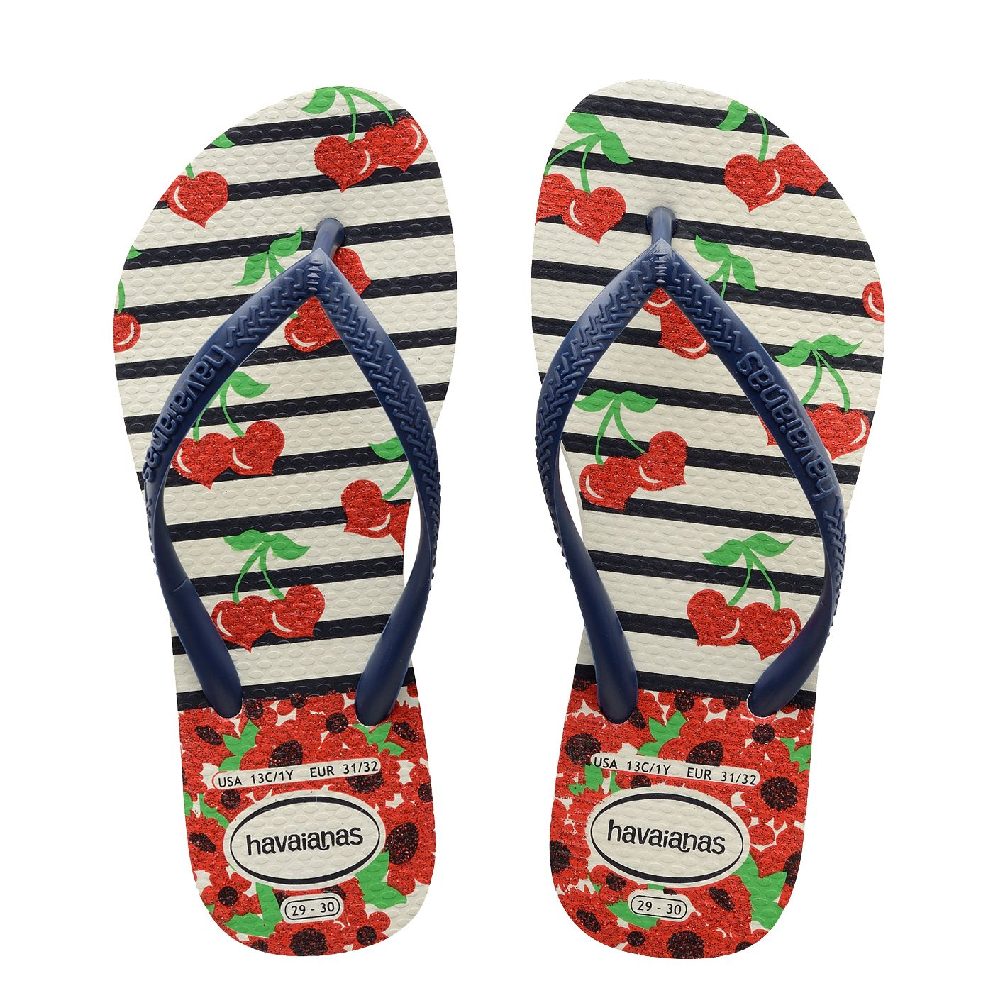 906b4c5fa Havaianas Kids Slim Fashion White Navy Blue Thongs. A new season Havaianas  print for