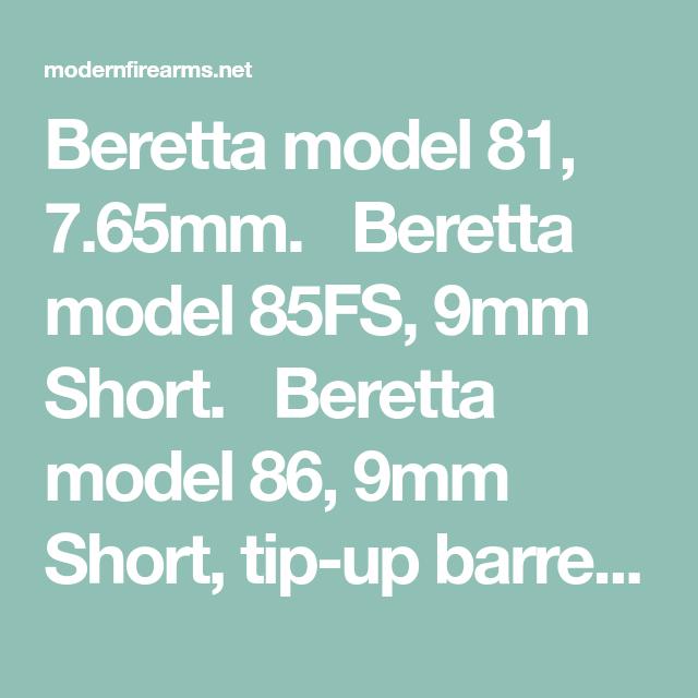 Beretta model 81, 7 65mm  Beretta model 85FS, 9mm Short