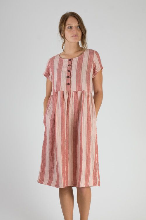 a4b418ab1d Model No. 11 - Currant and Rose stripe linen dress from Pyne   Smith ...