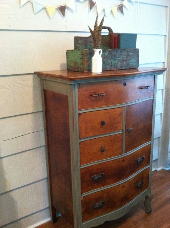 Gorgeous Two Toned Dresser Or Chest Stained Painted By