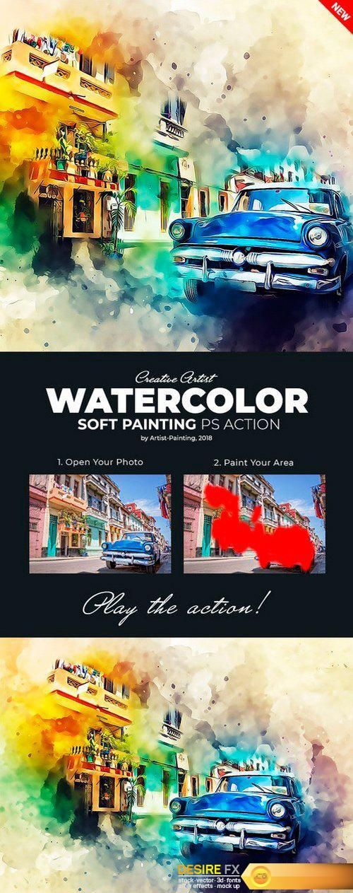 Graphicriver Watercolor Soft Painting Photoshop Action 22082612