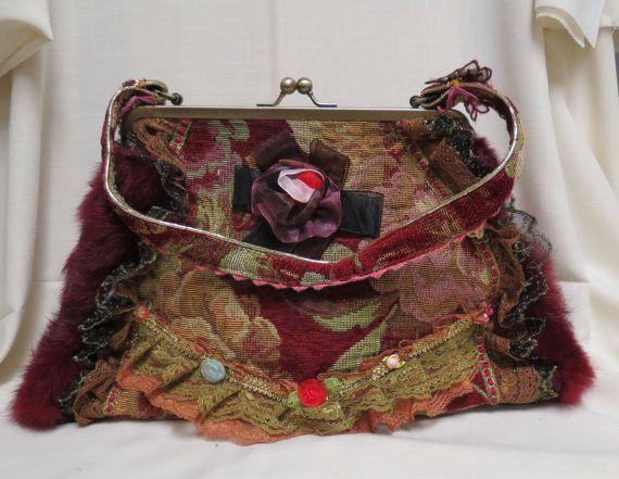 Vintage Tapestry Purse Custom Embellished by KansasKardsStudio