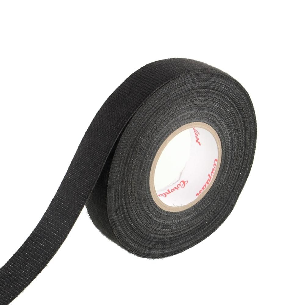1x Chaude Adhsif 19mm X 15 M Tissu Bande Mtiers Cblage Cloth High Heat Resistant Wiring Insulation Insulating Tape 15m Hot Quality Adhesive Fabric Looms Harness For Car Temperature 20