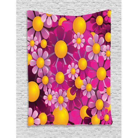 Abstract Home Decor Wall Hanging Tapestry, Flowers Cartoon ...