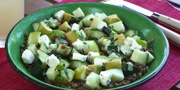 Salade de lentilles, pomme et avocat