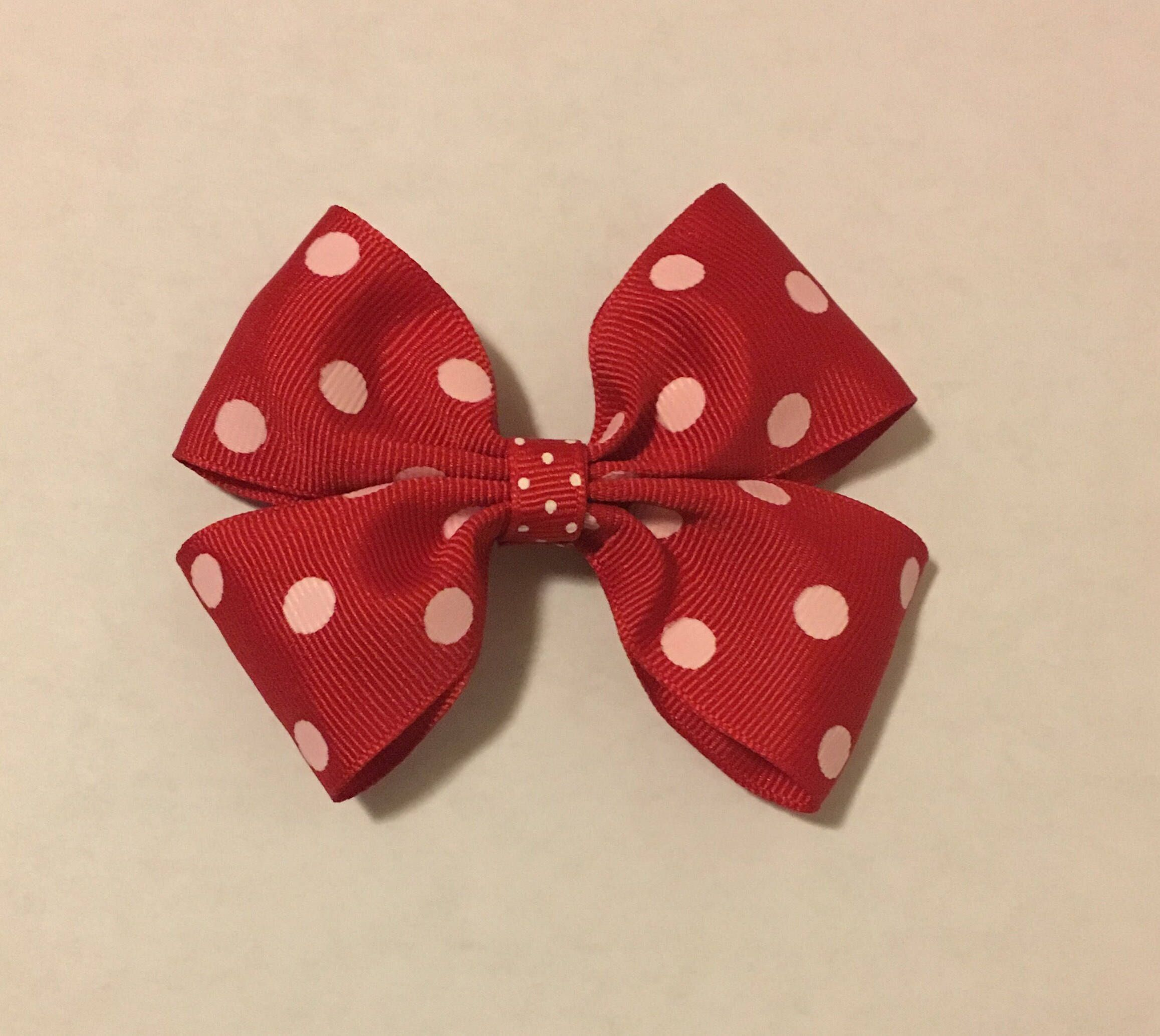 """Excited to share the latest addition to my #etsy shop: 4"""" Red Polka Dot Hair Bow #accessories #polkadotbow #redhairbow #portababy"""