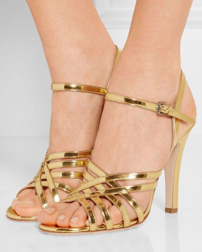 206cf07f3ac MIU MIU Metallic leather sandals
