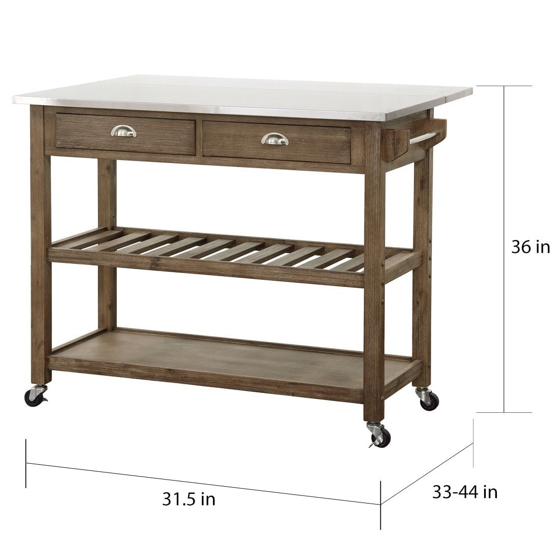 $319 Boraam Industries Wood And Stainless Steel Drop Leaf Kitchen Cool Kitchen Cart With Drop Leaf Inspiration Design