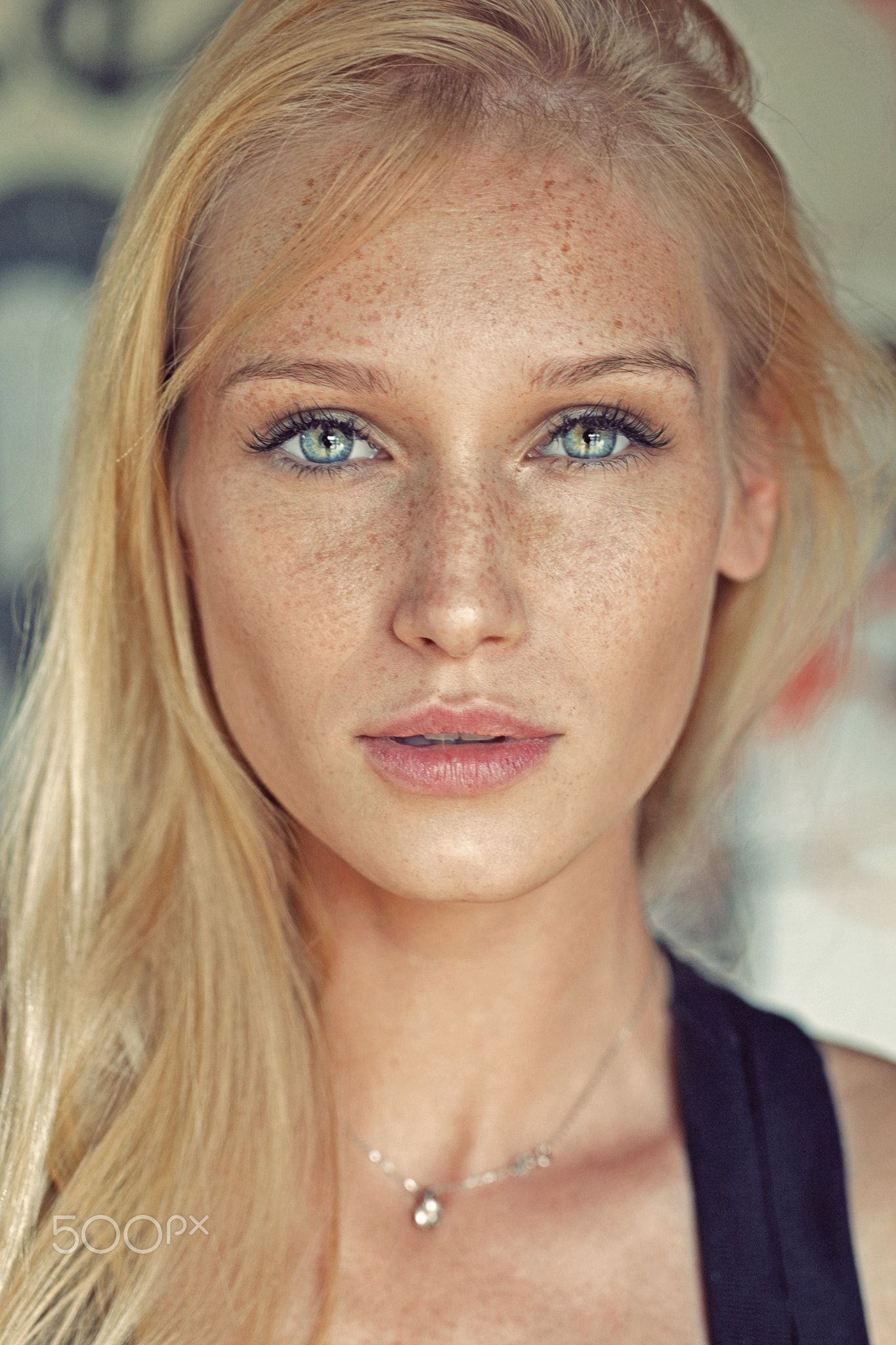 girl with freckles Blonde
