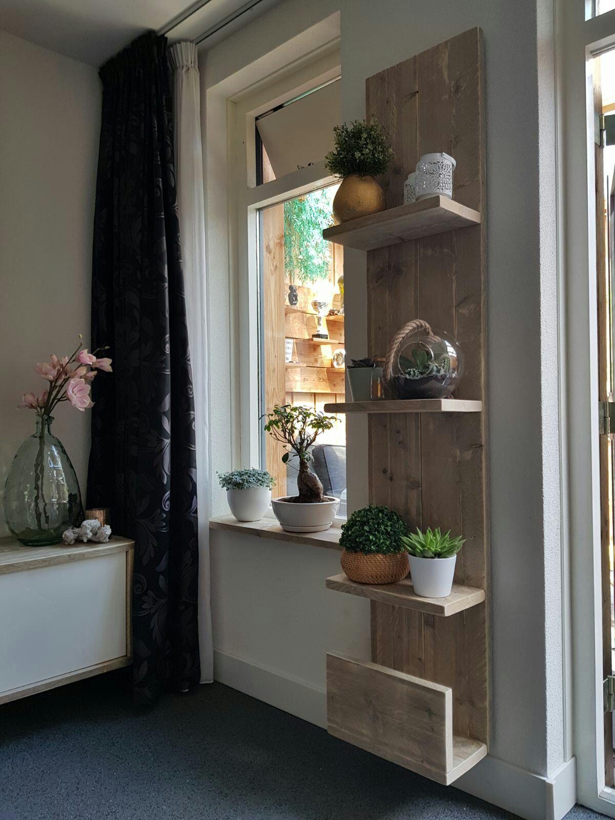 Wandbord oud steigerhout woonkamer folderbak | woonkamer | Pinterest