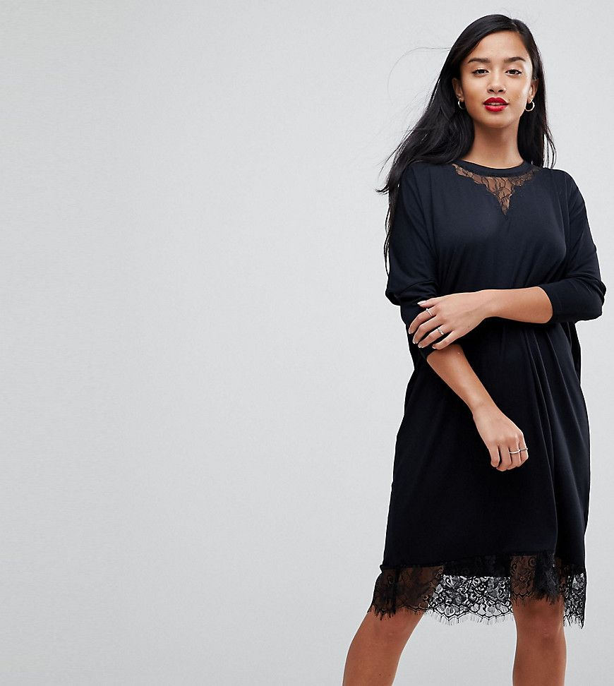 185f1c2dca2 ASOS PETITE Oversize T-Shirt Dress with Batwing Sleeve and Lace Inserts at  asos.com