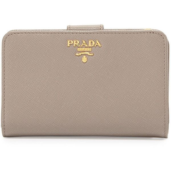 Brown leather · Prada Saffiano Bi-Fold Tab Wallet ...
