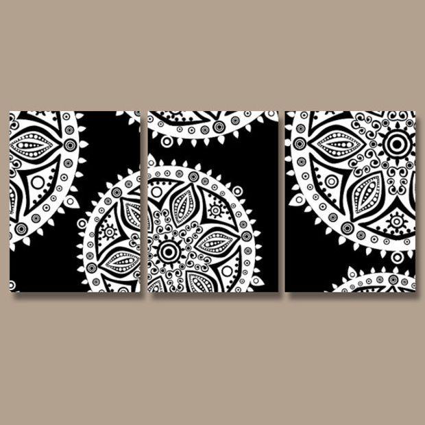 Wall Art Canvas Artwork Aztec Tribal Mandala Ornament Design Black White Set Of 3 Prints Decor Bedroom Bedding Bathroom Three