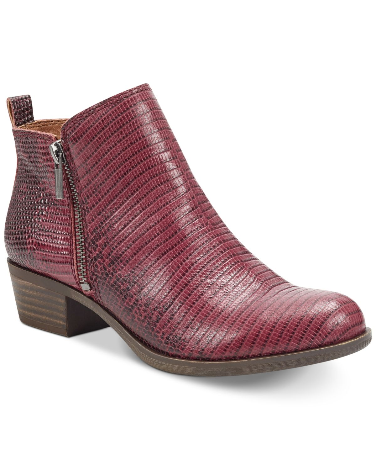 Lucky Brand Women's Basel Leather Booties – Rio Red Tomas