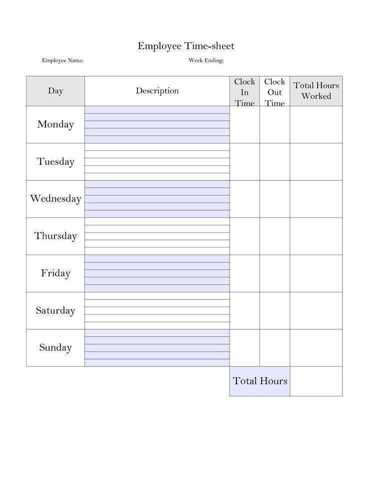 Payroll Template Monthly Employee Printable Time Card Blank Business