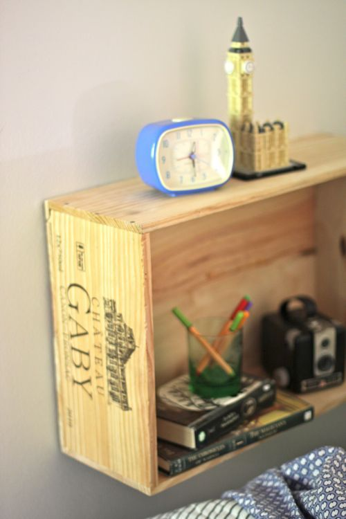 Great idea to use wooden boxes as shelving and wall storage. The ...