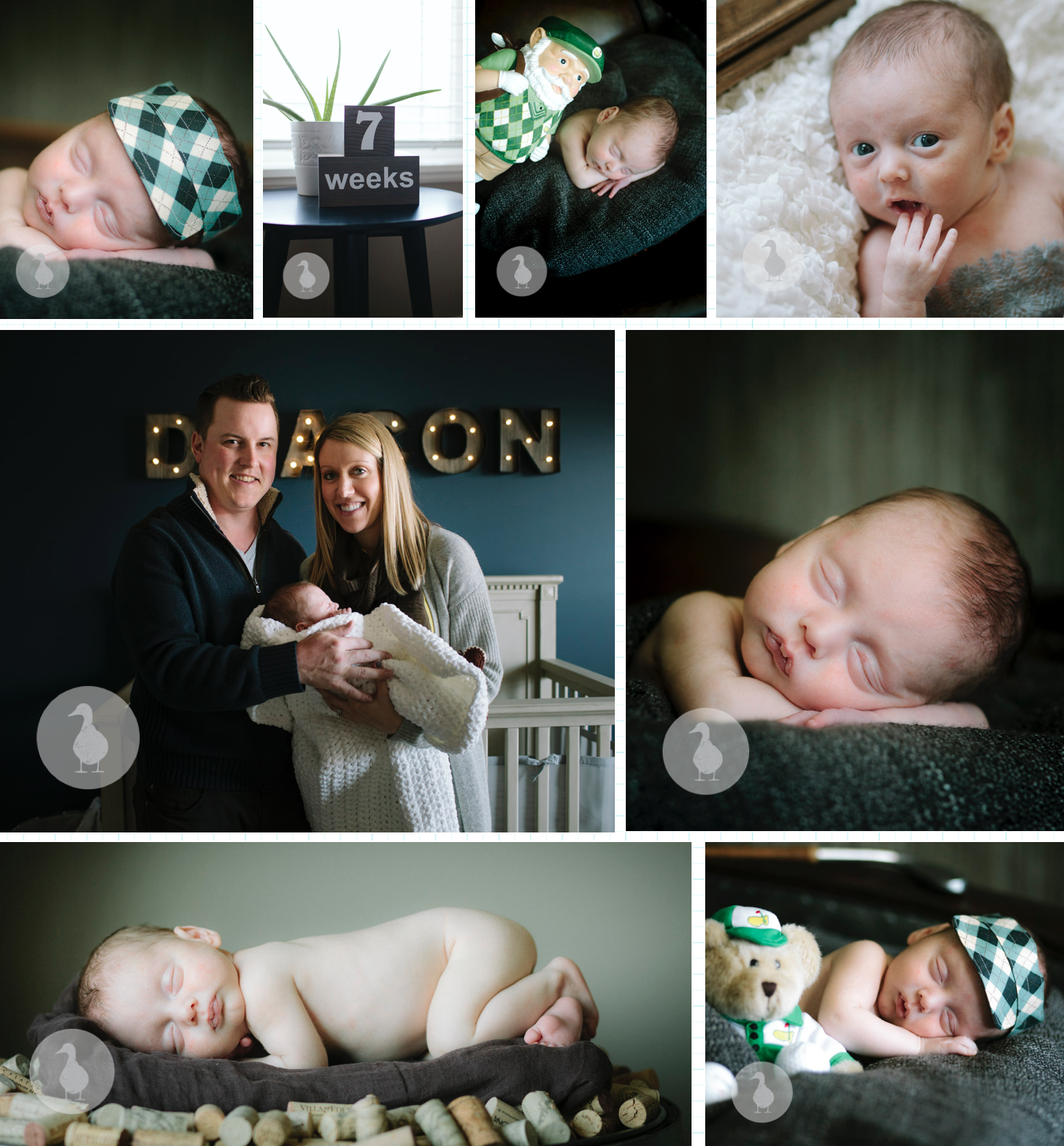 In-home newborn session. Golf Theme. Natural Light. Minneapolis Family Portrait Photographer