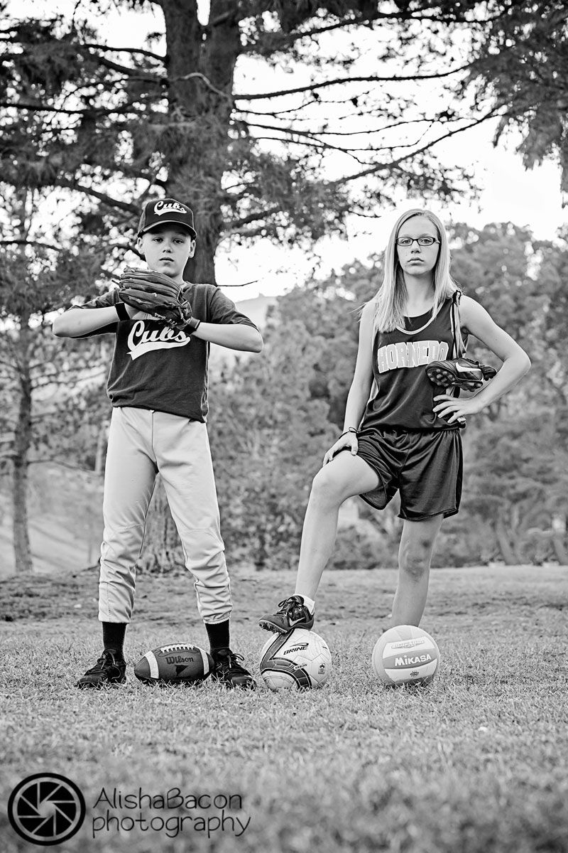 Brother and sister sport's themed portrait.....I wonder this would look with baseball & dance?