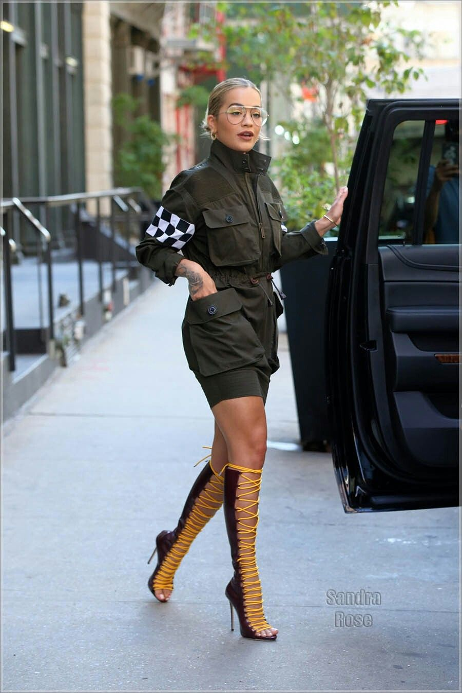 Rita ora in New York in lace up boots