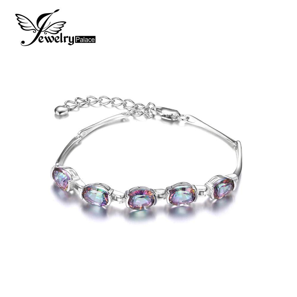 Jewelrypalace rainbow natural mystic topaz pulsera de enlace de tenis genuino 925 mujeres 2016 nueva moda de joyería fina