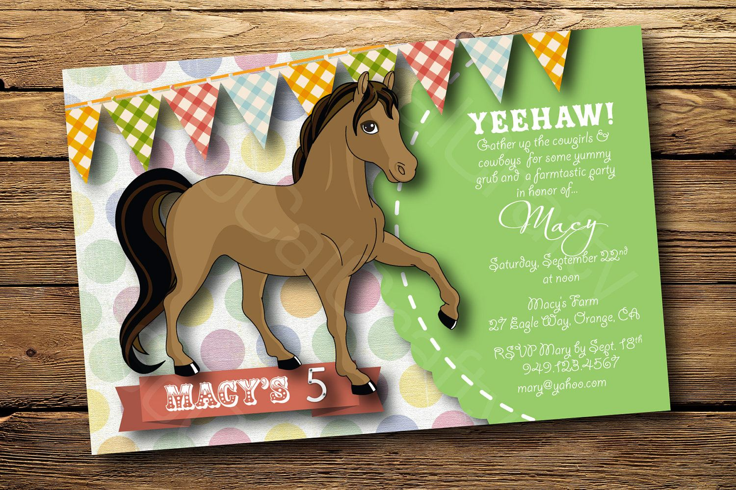 Cowgirl Horse Theme Birthday Party Invitation