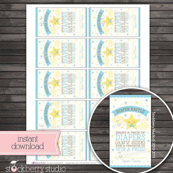 Twinkle Twinkle Diaper Raffle Ticket Printable by stockberrystudio - printable ticket paper