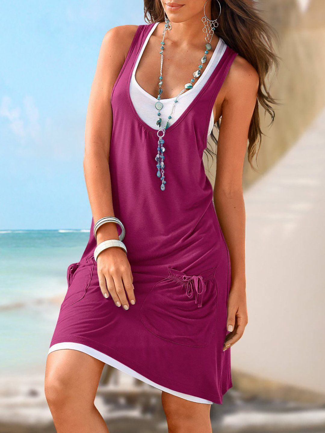 7e122430ce8 Fashion Women Two-pieces Casual Sleeveless Vest Pocket Strappy Beach Dress