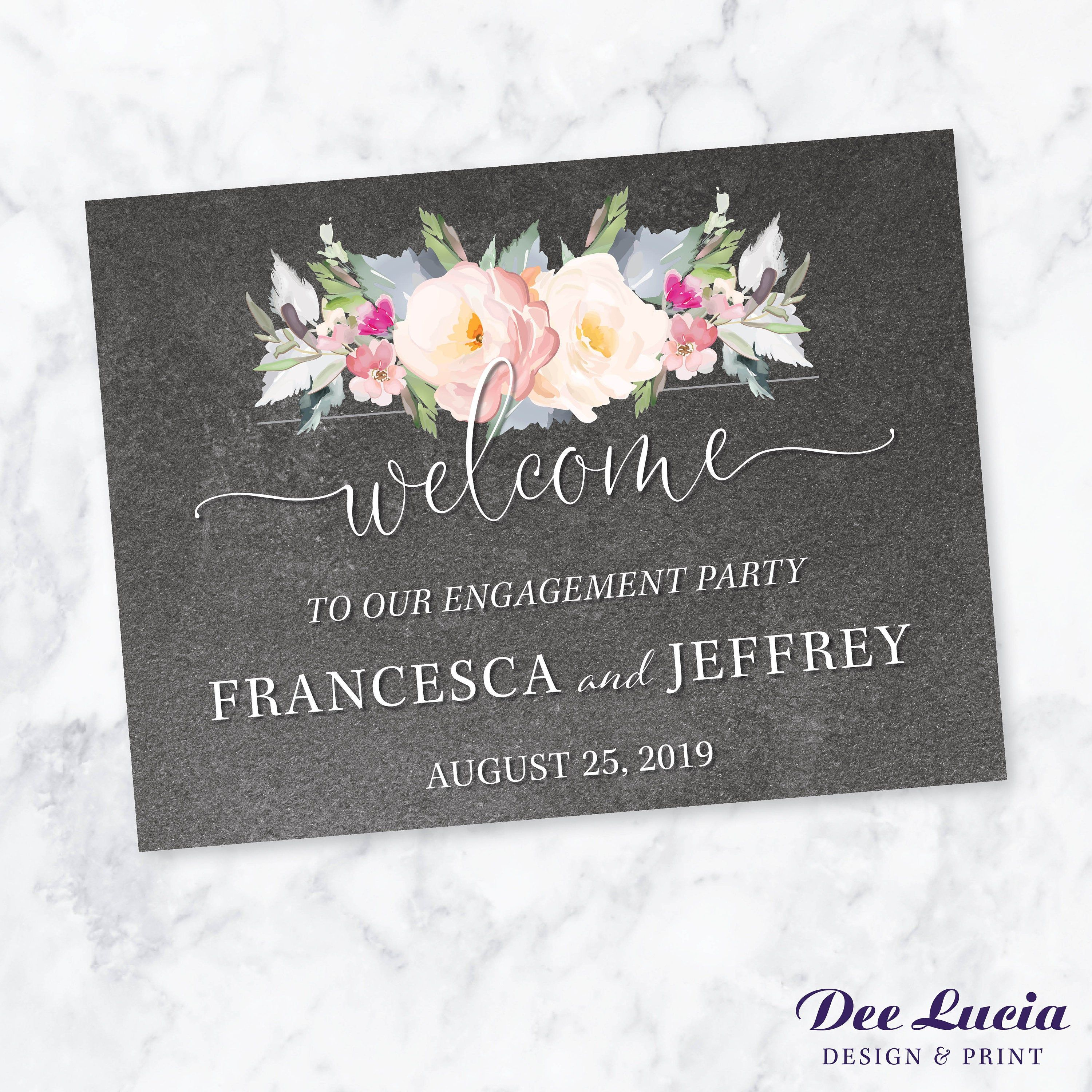 Wedding, Shower or Party Welcome Sign – Printed sign, mounted or for frame