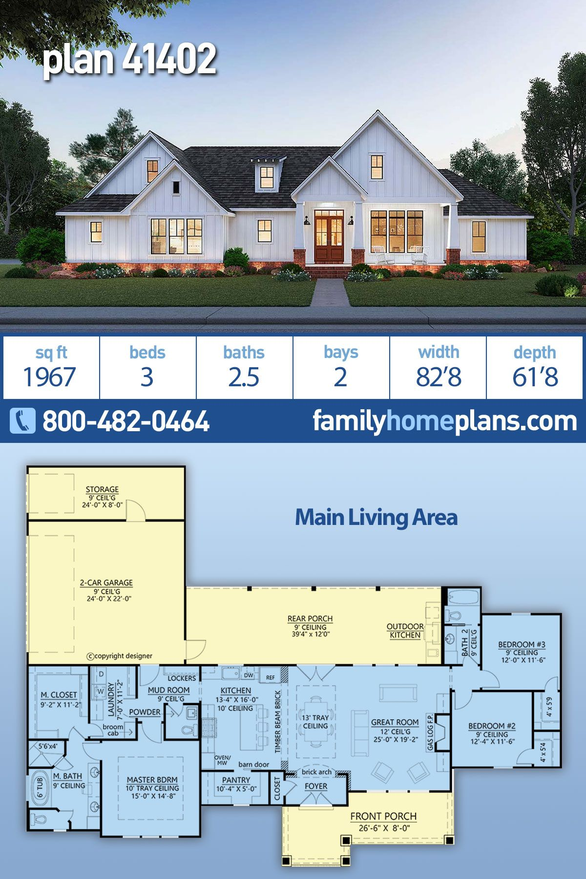 Traditional Style House Plan 41402 With 3 Bed 3 Bath 2 Car Garage New House Plans Dream House Plans Family House Plans