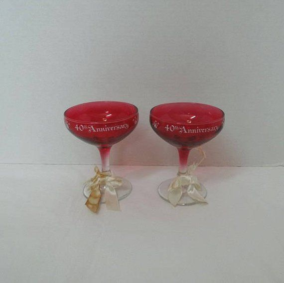 TWO NEW VINTAGE FAKE RED WINE GLASSES