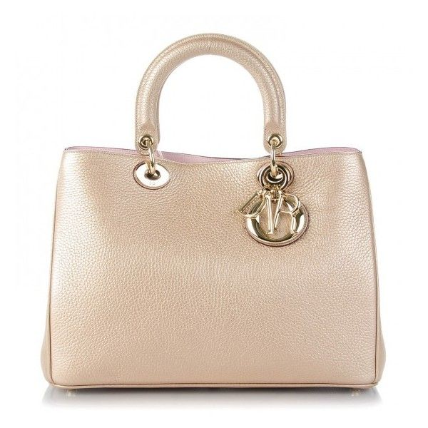 CHRISTIAN DIOR Metallic Bullcalf Medium Diorissimo Champagne ❤ liked on Polyvore featuring bags, handbags, gold metallic handbags, leather tote purse, leather handbags, leather totes and genuine leather purse