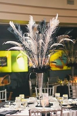 Peacock Feather Wedding Centerpieces in Black & White - Lot of 11