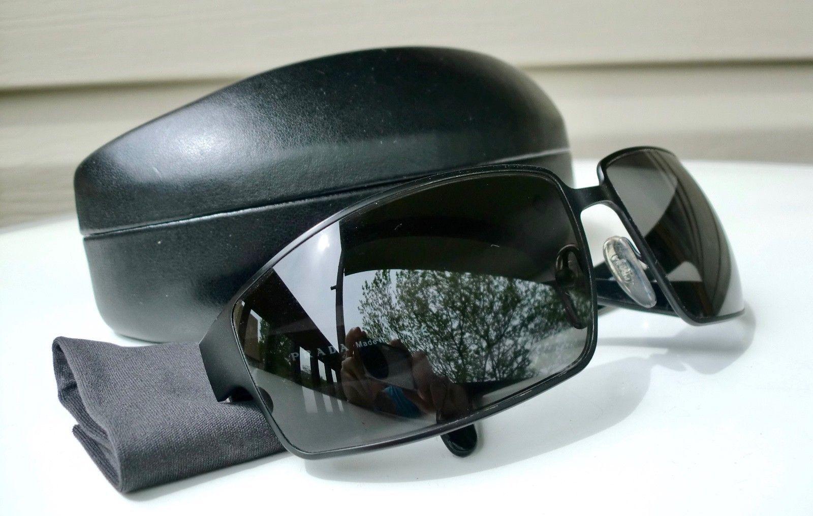 0980f084d0302 PRADA Designer BIKER Sunglasses Rectangle BLACK-Metal Frame  Round-Temple-Corners (eBay