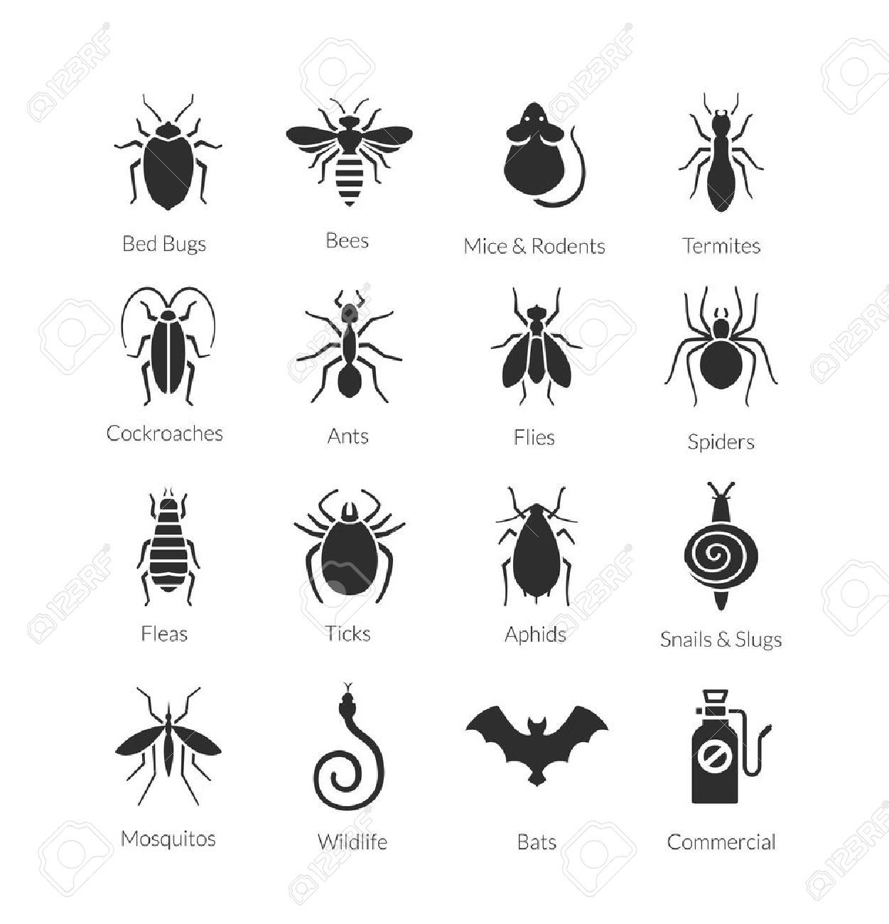 Vector black and white icon set of different insects like