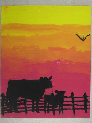 6th Grade Silhouette Paintings Art Farm Scene Painting Young Art