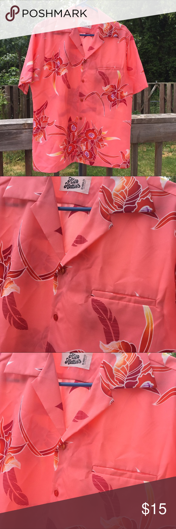 8c815190b446 Vintage Hawaiian shirt M Super lightweight fabric Awesome coral colored  button front Hawaiian shirt with single chest pocket. I believe this is a  men's, ...